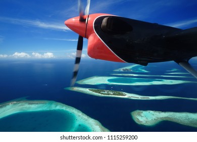 Group of atolls in Maldive on a Seaplane