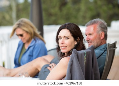 Group of attractive middle-aged friends outside