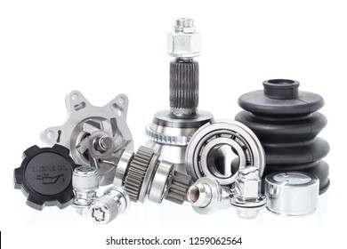 Group automobile engine parts isolated on white background. Auto shop