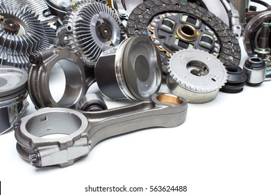 Group automobile engine parts isolated on white background