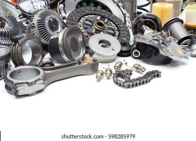 Group automobile engine parts isolated on white background