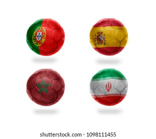 group B . realistic football balls with national flags of portugal, spain, morocco, iran. soccer teams. 3D illustration