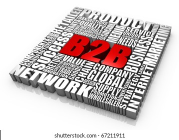 Group of B2B related 3D words. Part of a series.