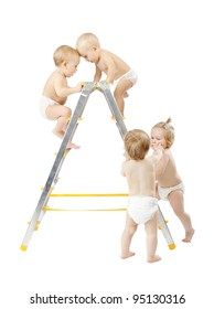 Group of babies climbing on stepladder and fighting for first place over white background. Competition concept. Isolated over white