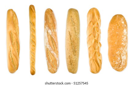 Group baguettes isolated on white . Different varieties. Top view panoramic