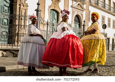 "Group of ""Baianas"" in the famous Pelourinho in Salvador, Bahia, Brazil"