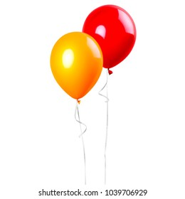Group of balloons red and orange isolated on a white background. Party decoration for celebrations and birthday