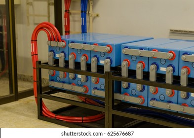 group of battery are used for electrical backup office twenty hours in battery room