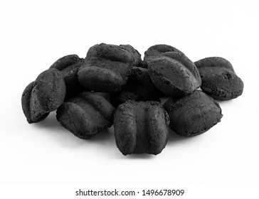 group of bbq charcoal briquette on white background