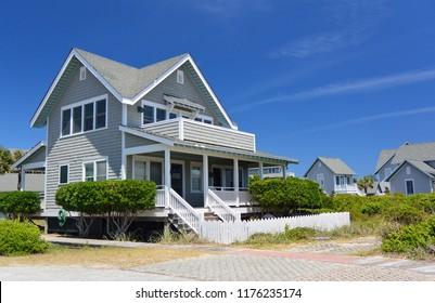 Group of beach houses, Bald Head Island, North Carolina