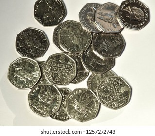 group of Beatrix potter uk 50 pence coins