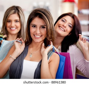 Group of beautiful female shoppers at the mall