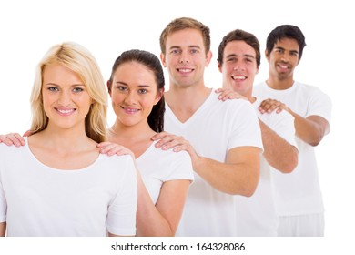 group of beautiful friends standing in a row over white background