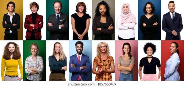 Gruppe schöner Menschen vor einem Hintergrund