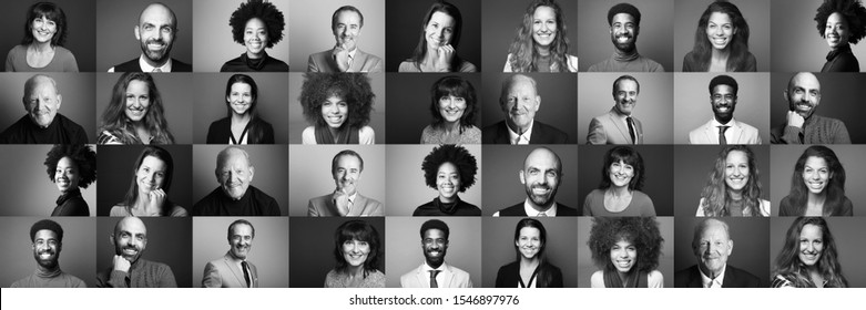Group of beautiful people in front of a black background