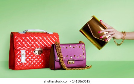 Group of beautiful purses bags.  Shopping image.