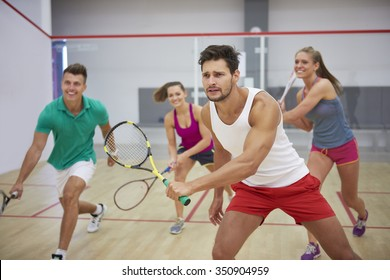 Group of best friends during the squash match