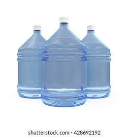 Group of Big Bottles with Water isolated on white background. 3D Rendering