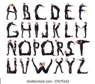 Group of black dressed people forming the alphabet.