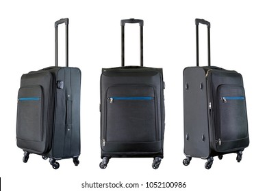 Group of black suitcases isolated on white background.