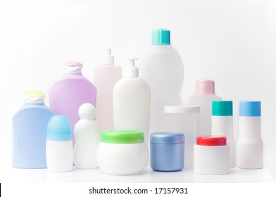 group of blank beauty products. different shapes and sizes