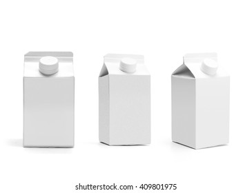 Group of blank half liter milk boxes with lid isolated on white with original shadow, package template of a retail container for liquid products.
