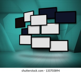 Group of blank screens on green digital background