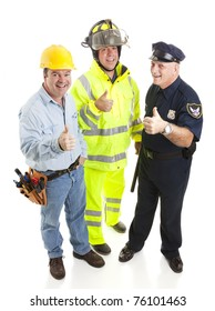 Group of blue collar workers - construction worker, fireman, police officer - giving thumbsup sign.  Full body isolated.