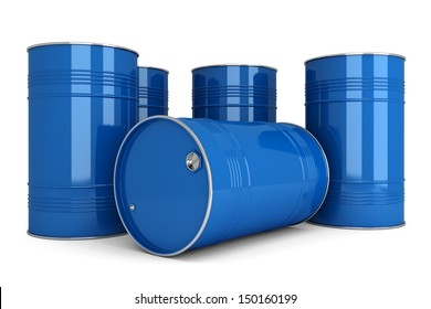 Group of blue metal barrels to store oil, gasoline, diesel, water, chemicals, toxic substances. Objects are isolated on a white background.