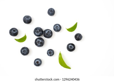 Group blueberries and leaf isolated on white background