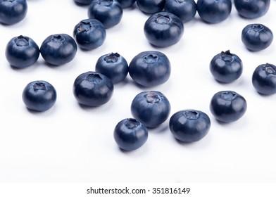 Group of blueberries on white background. Studio shoot.