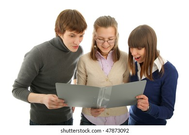 Group of with a book. Isolated background.