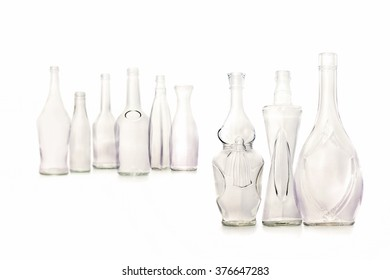 group of bootles isolated on white background, different shapes