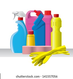 Group of bottles with detergents and cleaners