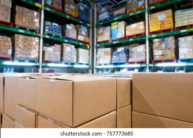 Group of boxes in smart warehouse industry logistic.