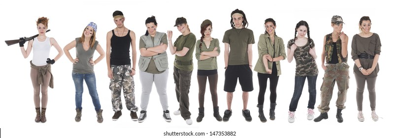 Group of boys and girls clothes from unlikely soldiers