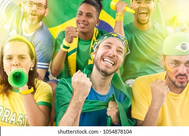 Group of brazilian supporters cheering at stadium. Emotions portrait.