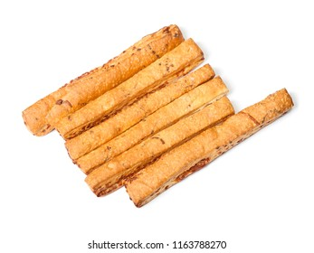 Group of bread sticks isolated on white background
