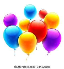 Group of bright color balloons on white background