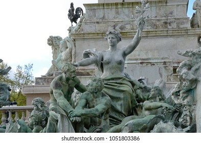 A group of bronze dramatic statues of the monument aux Girondins