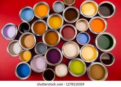 Group of Brush, tin metal cans with color paint