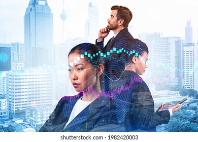 Group of business colleagues in suits as a part of multinational corporate team working on forecasting trading corporate strategy at fund. Forex chart. Kuala Lumpur on background. Double exposure