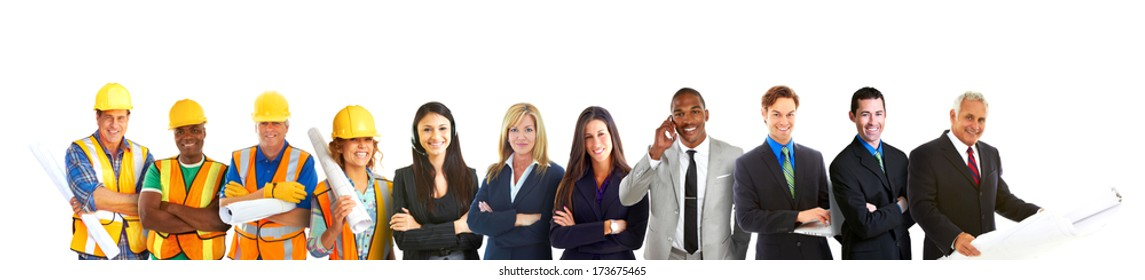 Group of Business and Construction Professionals Isolated on White Background. Horizontal Shot. Happy Confident Business Team Isolated on White.