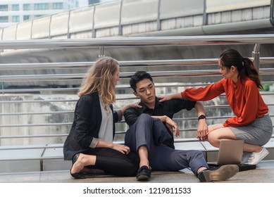 Group of business fail or unsuccess concept,sit at city