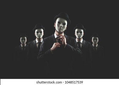 group of business men with white masks