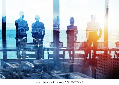 Group of business partner looking for the future. Concept of corporate and startup