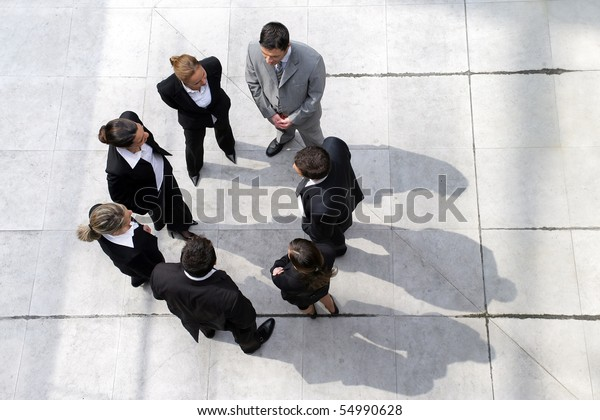 Group of business people from above