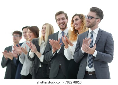 group of business people applauding isolated