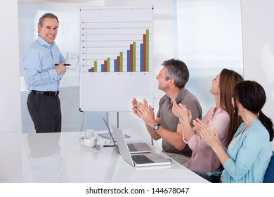Group Of Business People Appreciating Businessman At Presentation