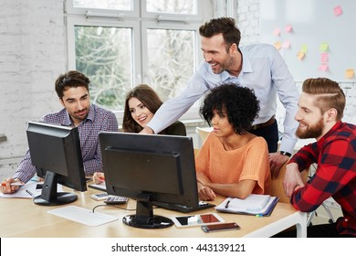 Group of business people brainstorming new ideas at office